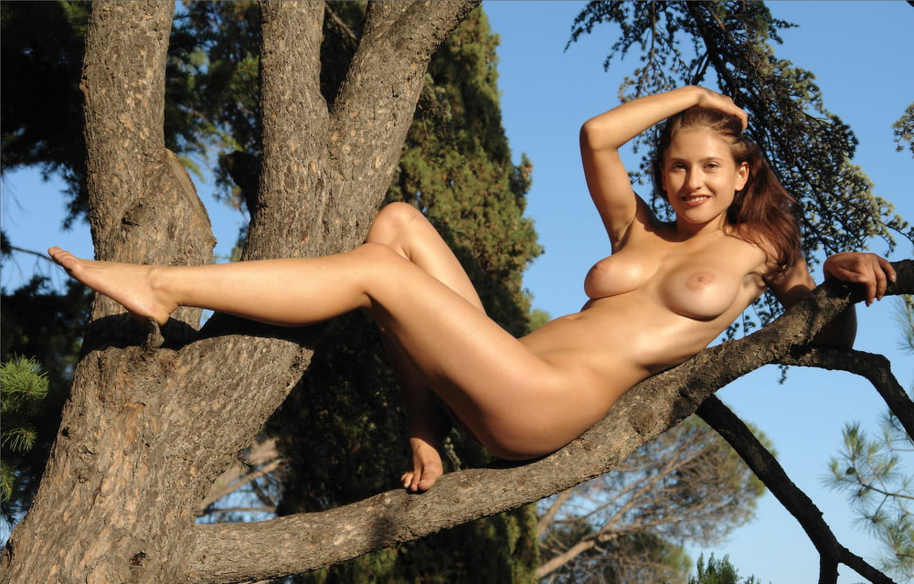 Nude girl in tree — img 8