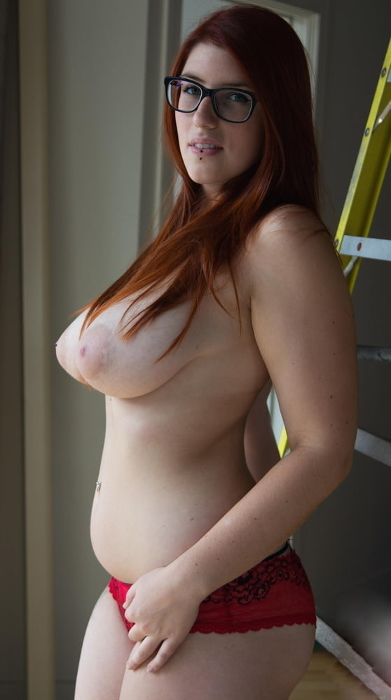 Nude redhead nerd glasses