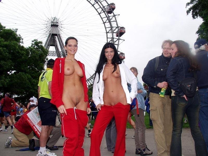 Flashing tits at theme park