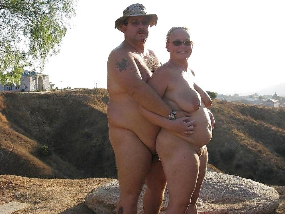 Fat naked hiker