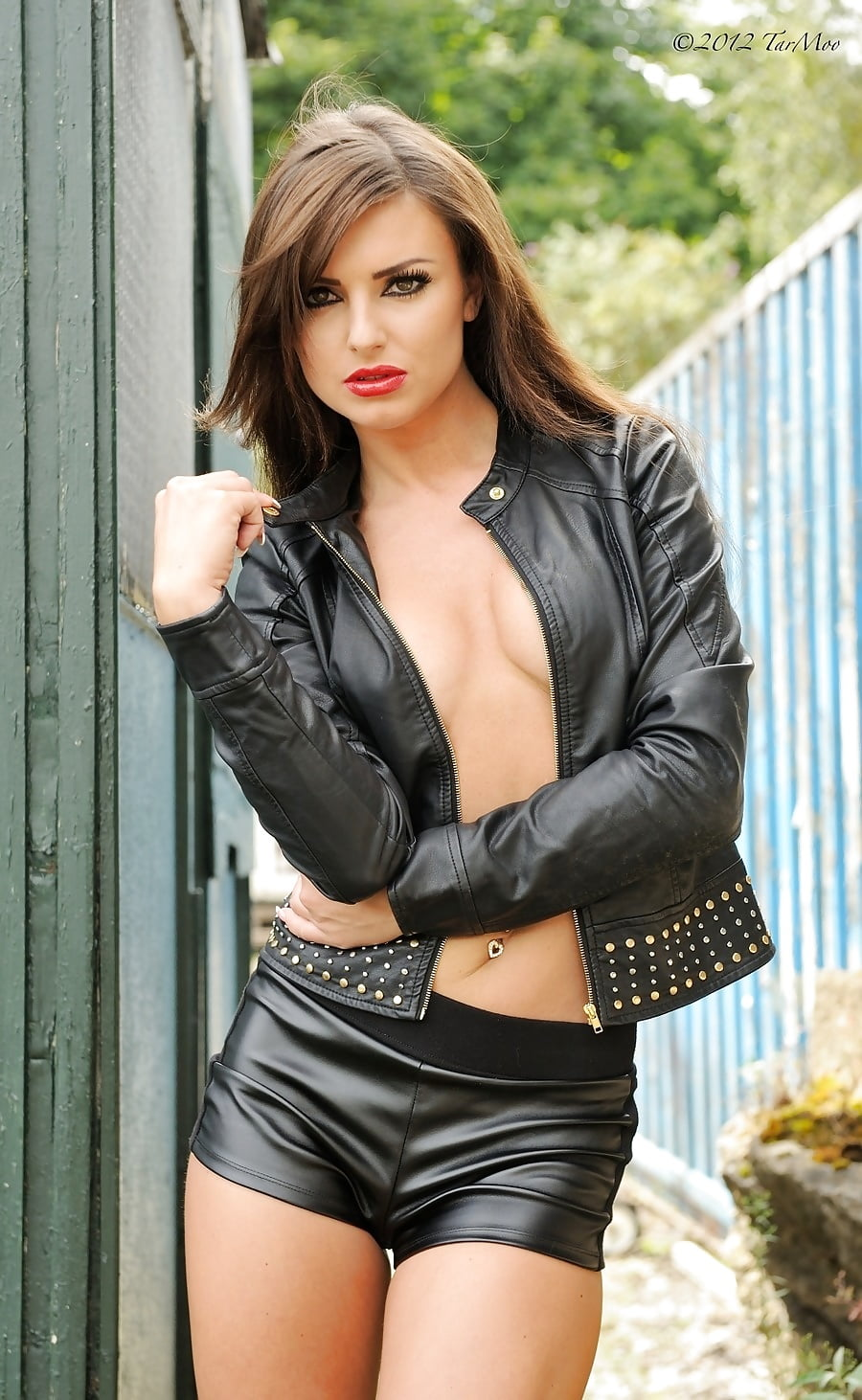 Sexy naked girls in leather jackets 2