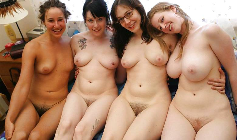 A bunch of naked ladies together
