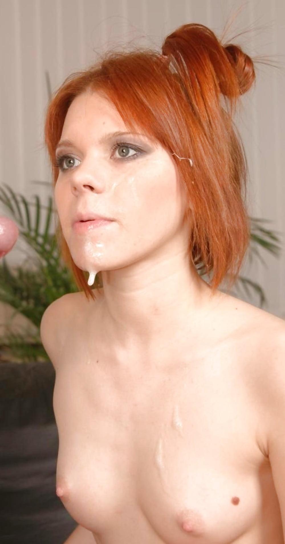 Redhead covered in cum