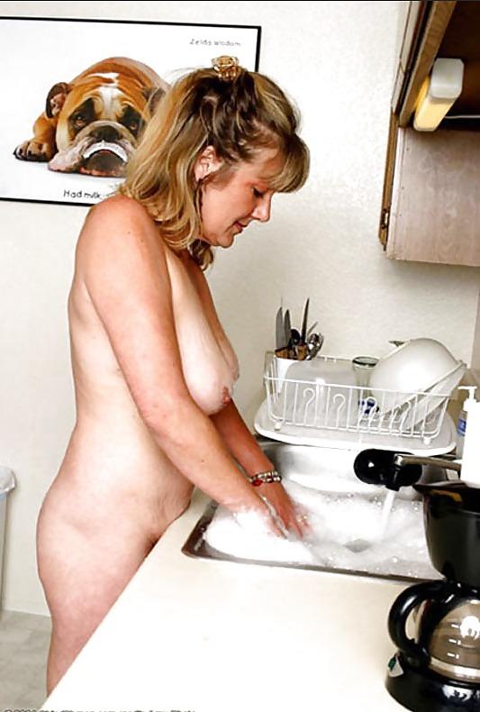 Washing dishes naked