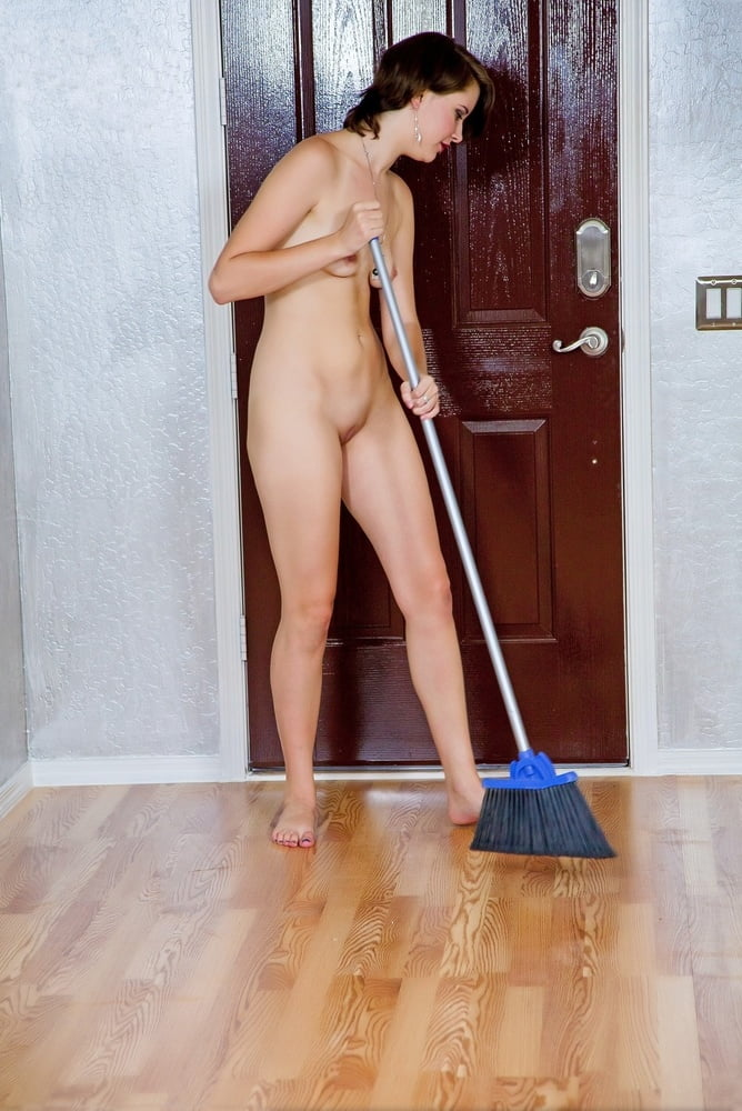 Naked girls clean