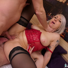 Big Booty French MILF Threesome Double Penetration