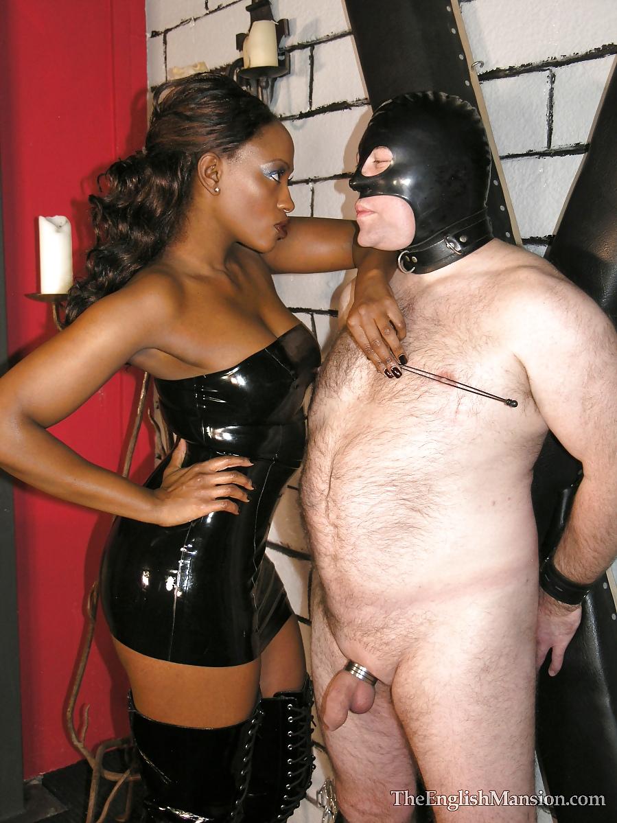 Black femdom white male slave
