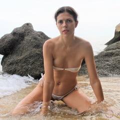 Part 3. Julia V Earth In White Bikini At The Beach.