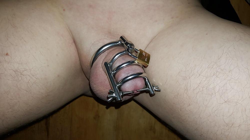 Blonde Twink Wearing Cock Cage Gets Handjob
