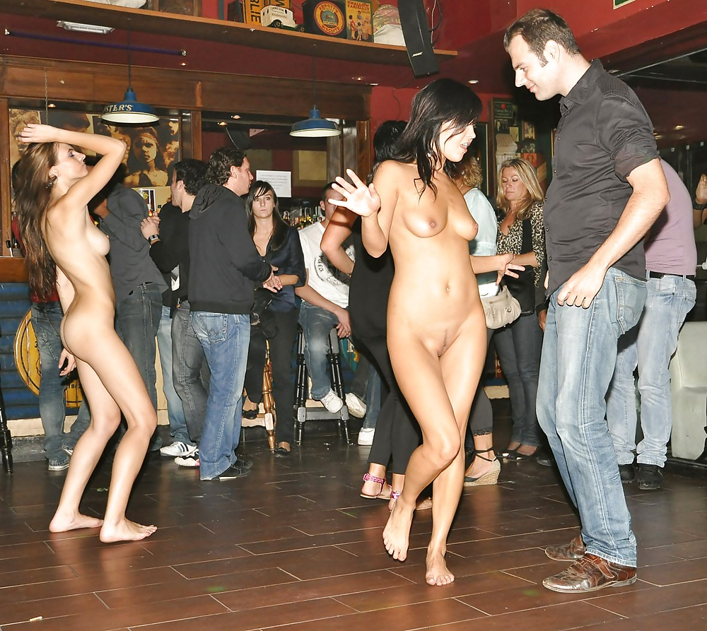 Teen nude chicks in public party