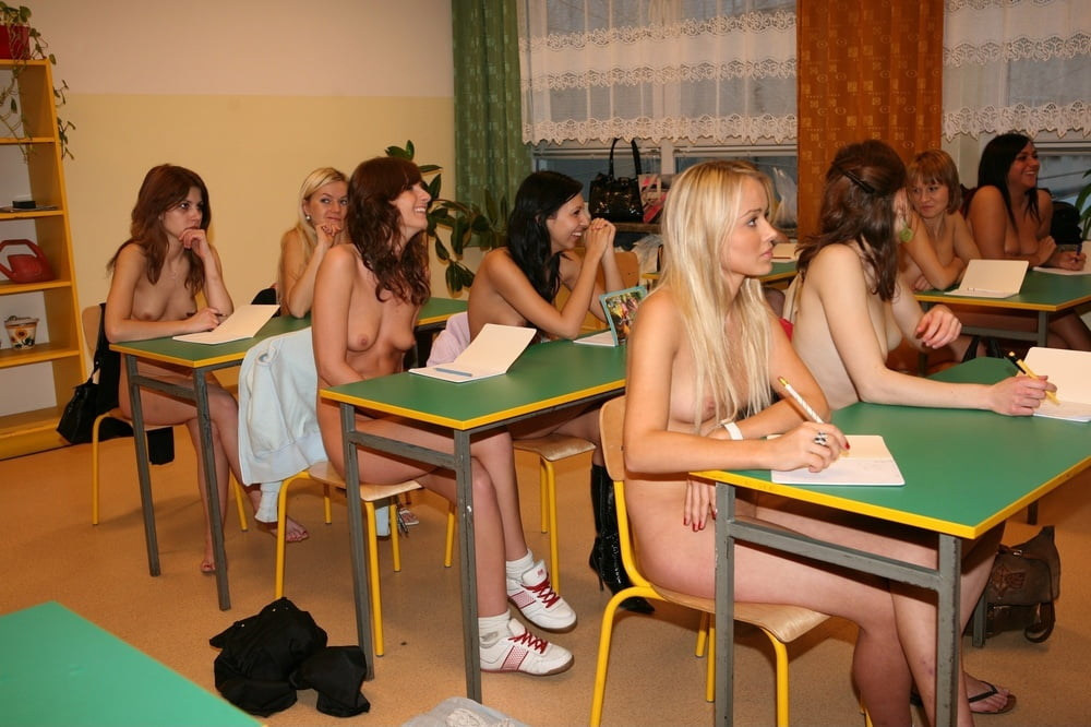 Nude girls in classroom