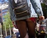 Pantyhose and black panties upskirt