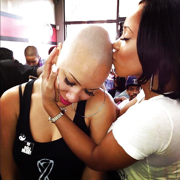Woman bald head shave