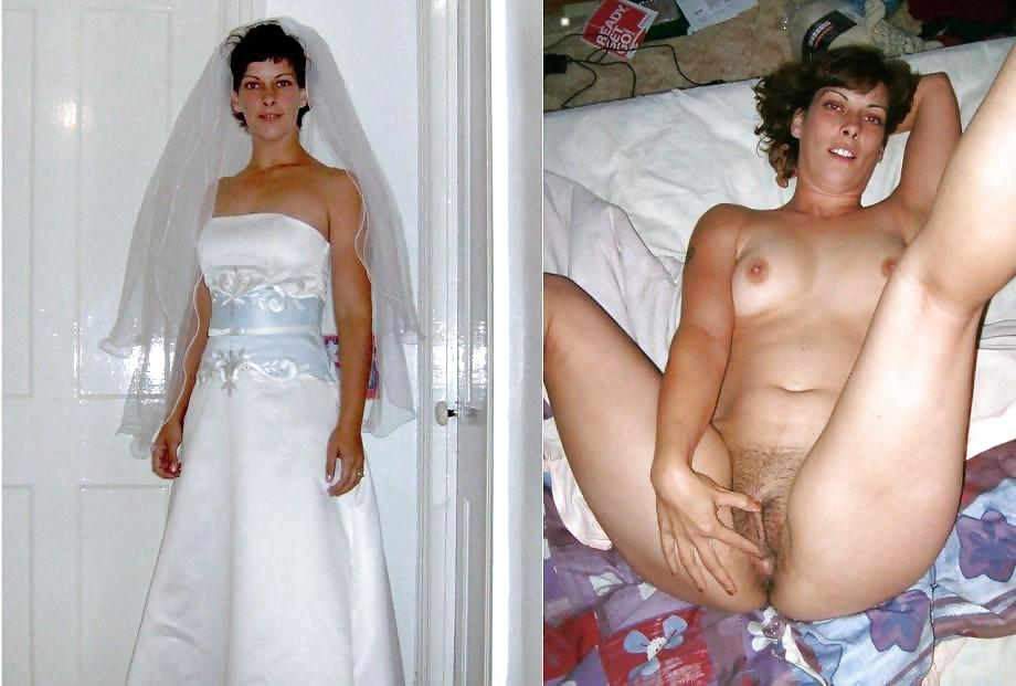 dressed and amateur bride undressed Nude