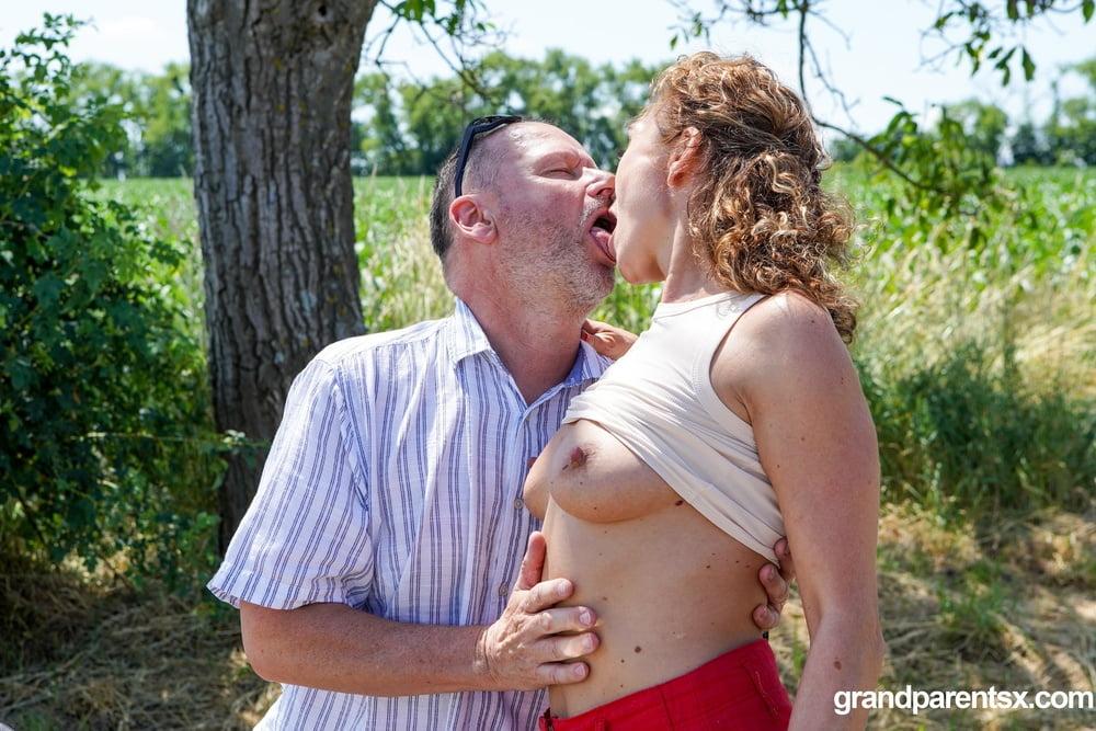 Hottie joins old couple in public at GrandParentsX - 15 Pics