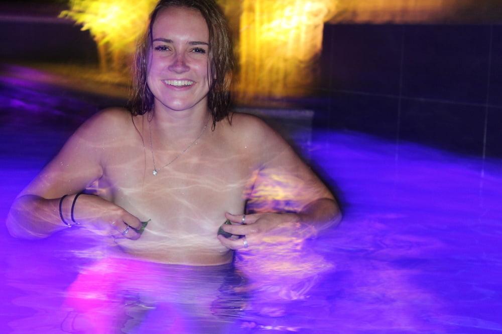 Backyard pool sex