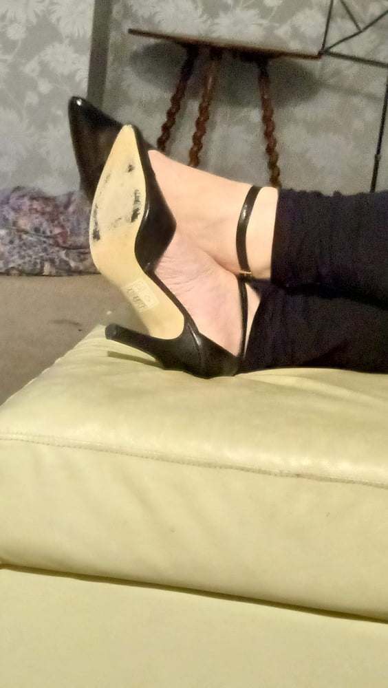 Pantyhose feet and high heels