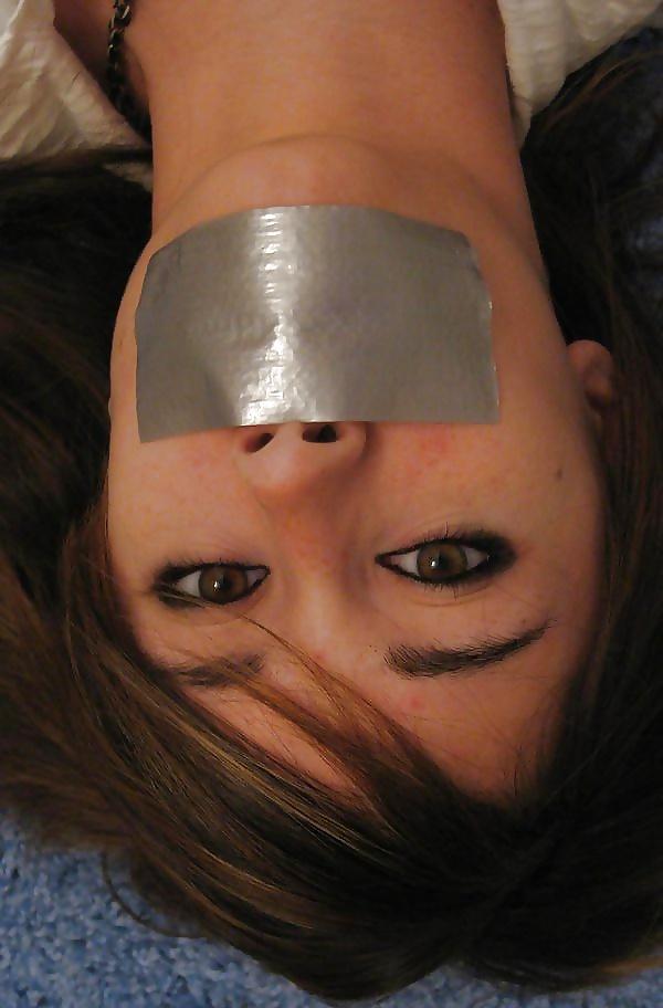 Bondage Blindfolded With Duct Tape