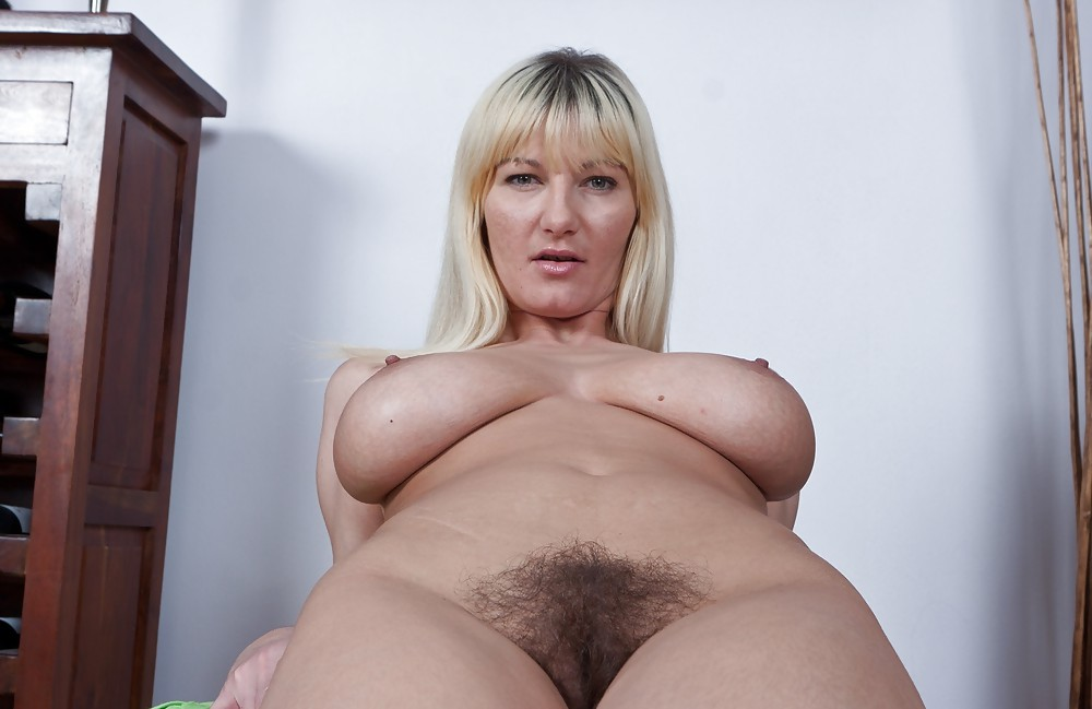 Busty Hairy Mature Blonde Milf Cassandra With Large Areolas Wearing Black Lingerie In Office