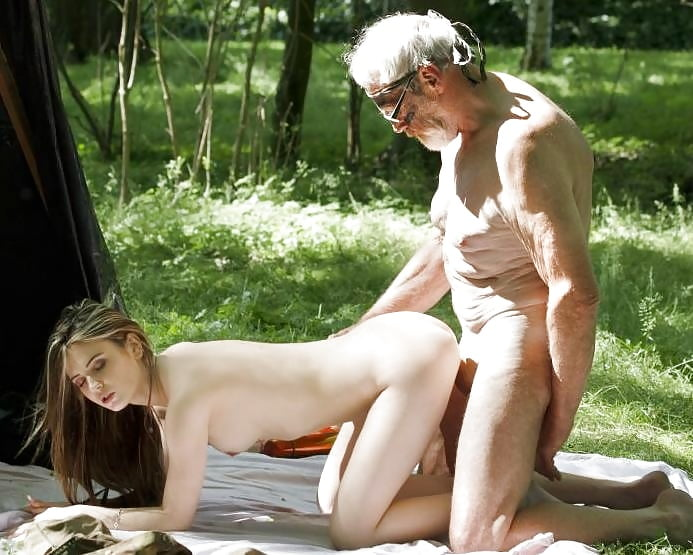 Innocent porn old man at the park