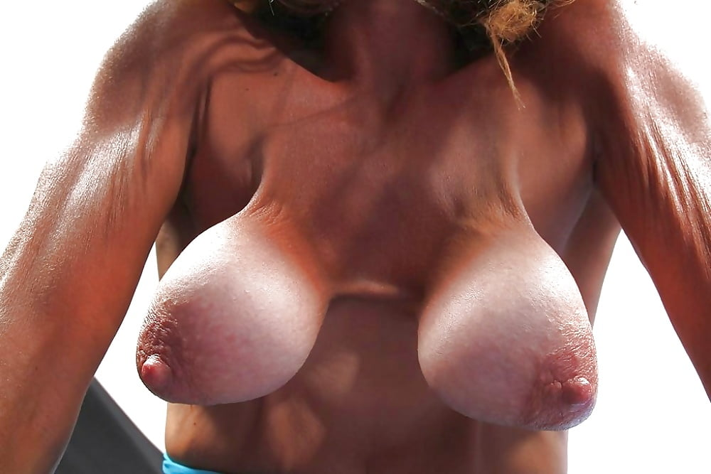 Sexy saggy breasts massage, nudist girl working out