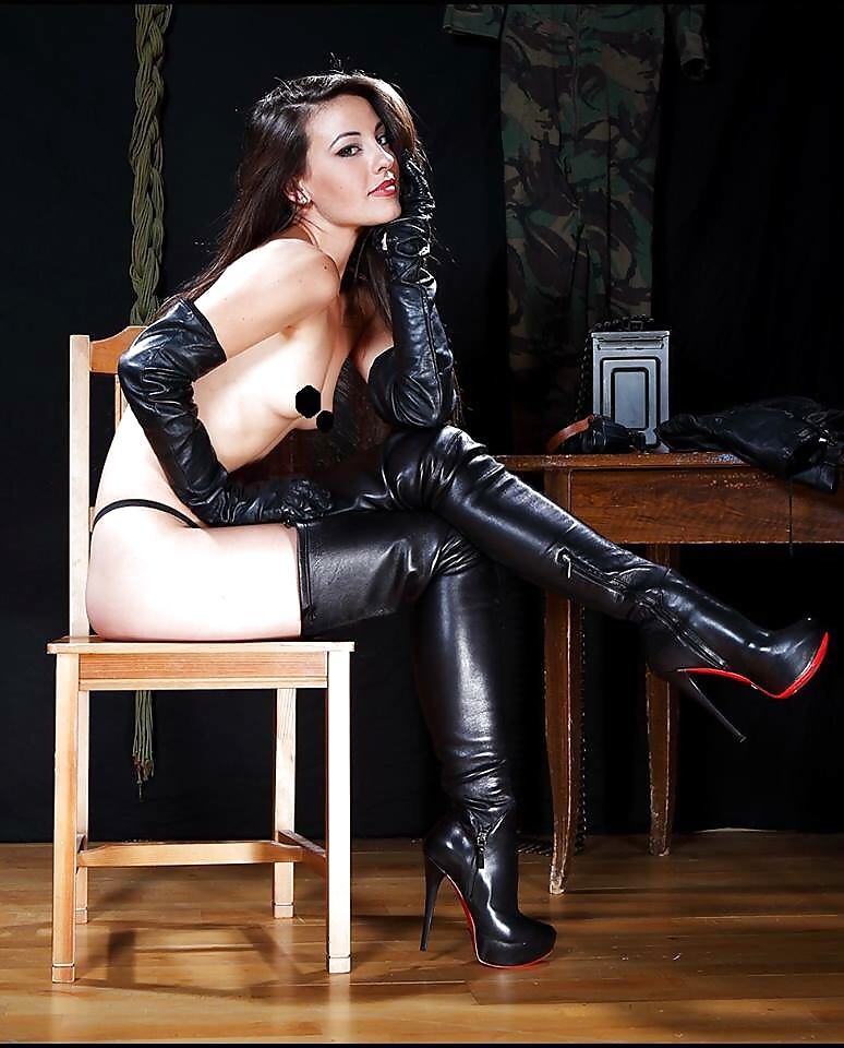 Sexy naked women leather jacket