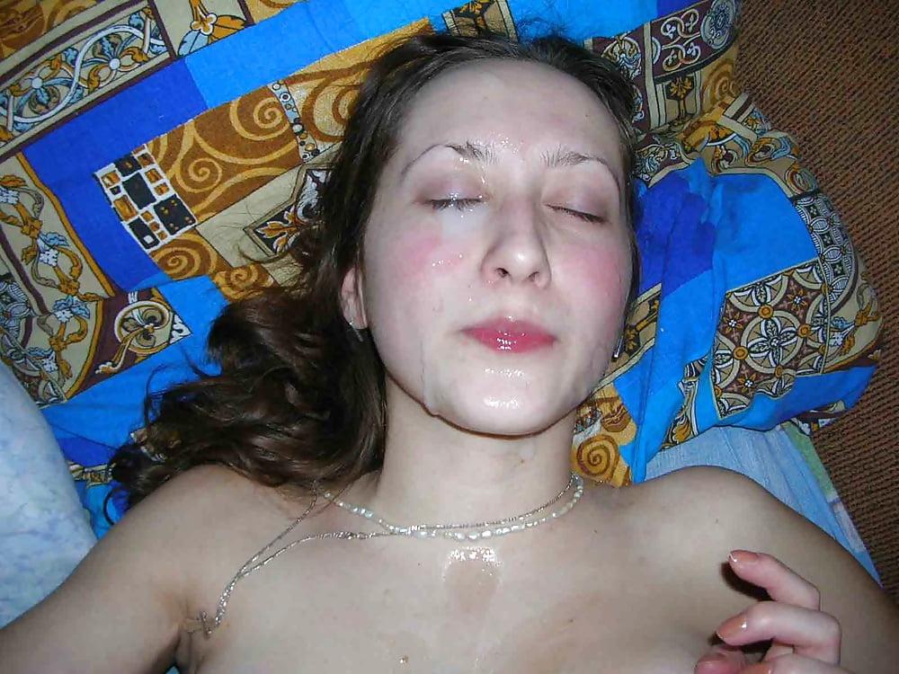 Частные фото жены сперма на лице