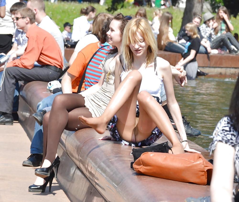 Street candid russian girl thong upskirt