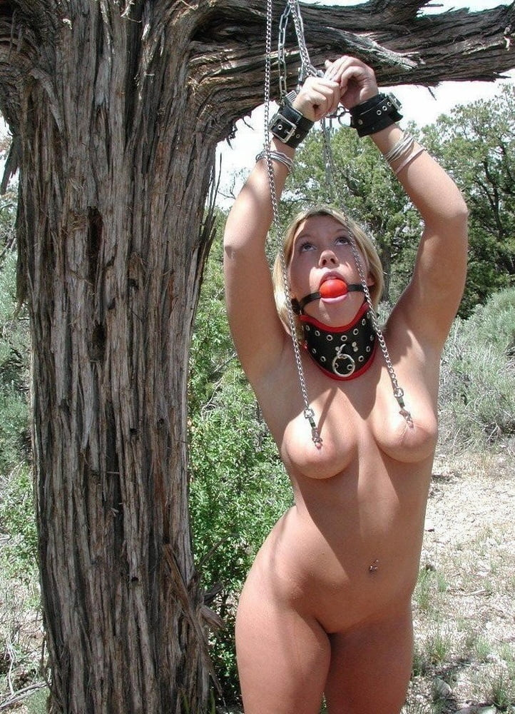 Naked babe got tied up outdoors and forced to cum, because she asked for it