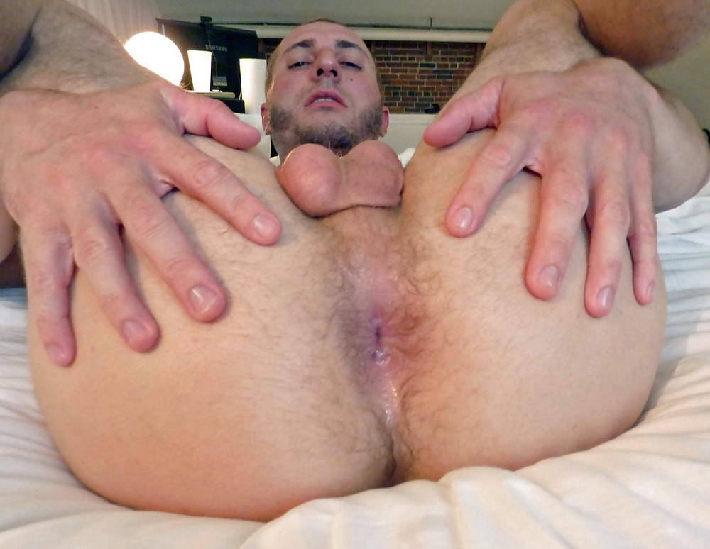 Straight hunk shows butthole