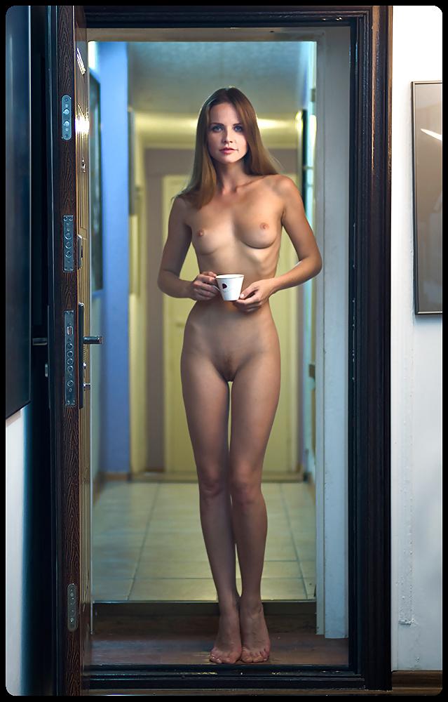 Nude female in elevator