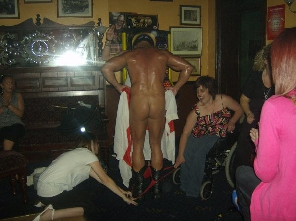 Hen night male stripper, nude amatuer in kitchen