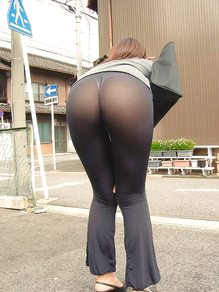 Thong through yoga pants