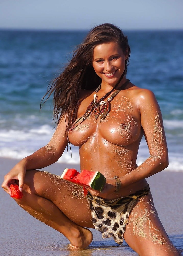 Topless Kyla Cole Enjoying Watermelon At The Beach Sexy 21naturals 1
