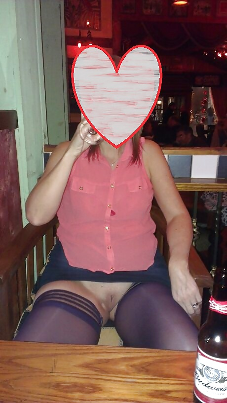 Porn image Upskirt Stockings in Pub. Flashing Pussy in Public Bar