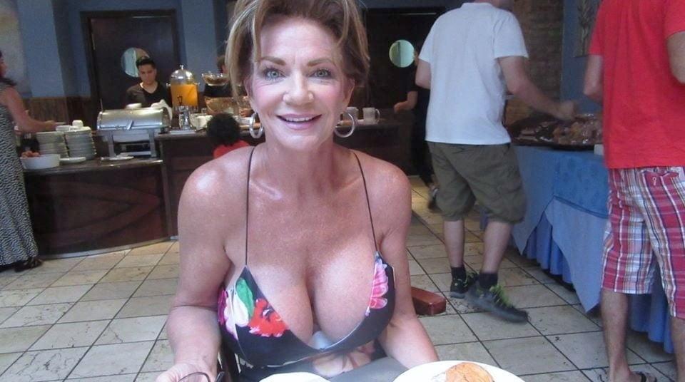 Big boobs of horny mature women