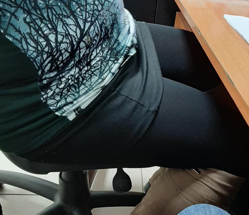 Hidden cam under desk masturbation