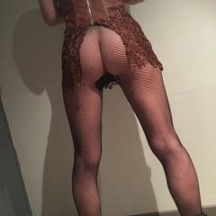 Mini Leather Dress And Fishnet