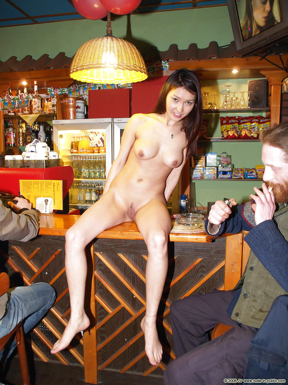 Wife naked in public bar