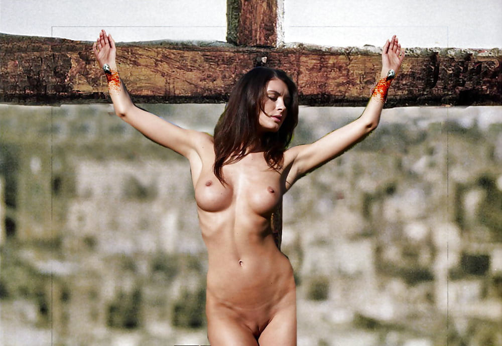 Naked girl crucified in arena