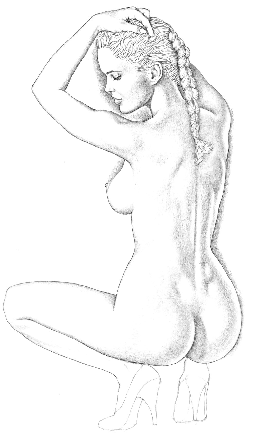 Pencil drawings of naked women in bondage