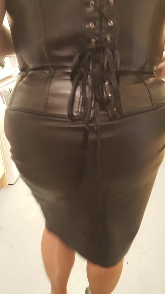 Black leather skirt porn