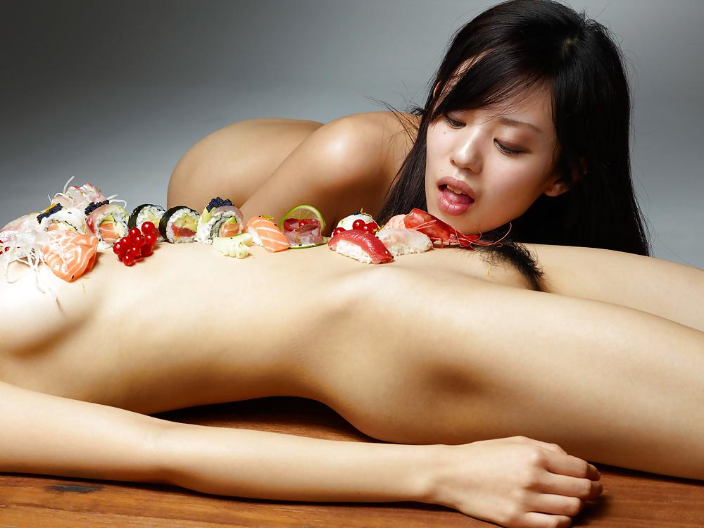 Naked sushi girls on western menu