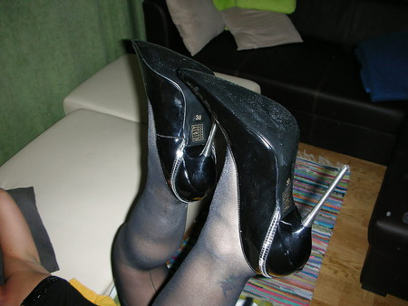 wife black patent leather metal spiked heels