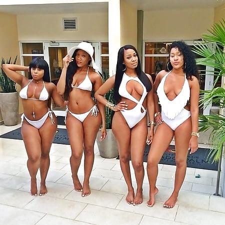 Ebony model in bikini