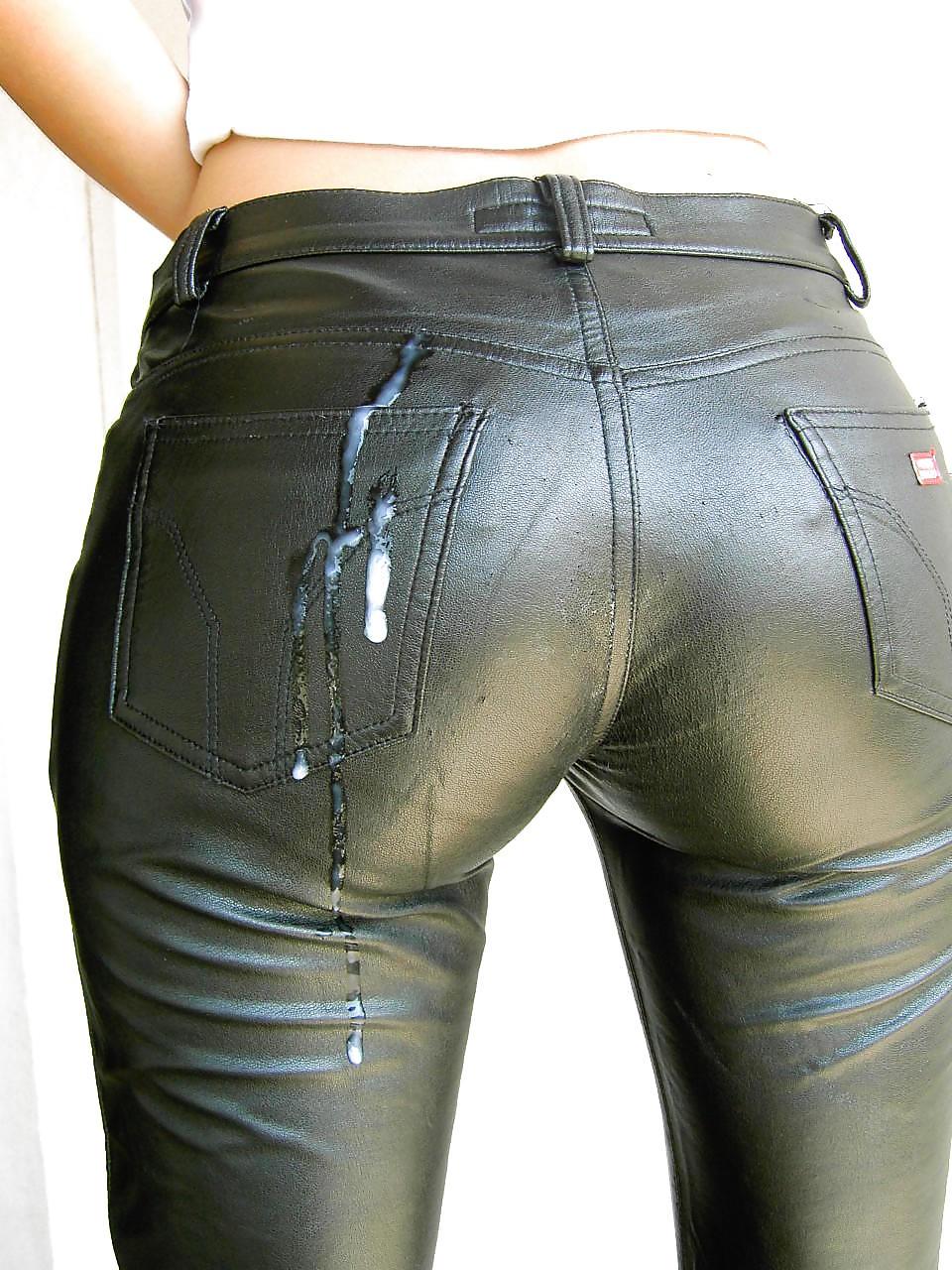 Cum leather pants, sexy spot feet