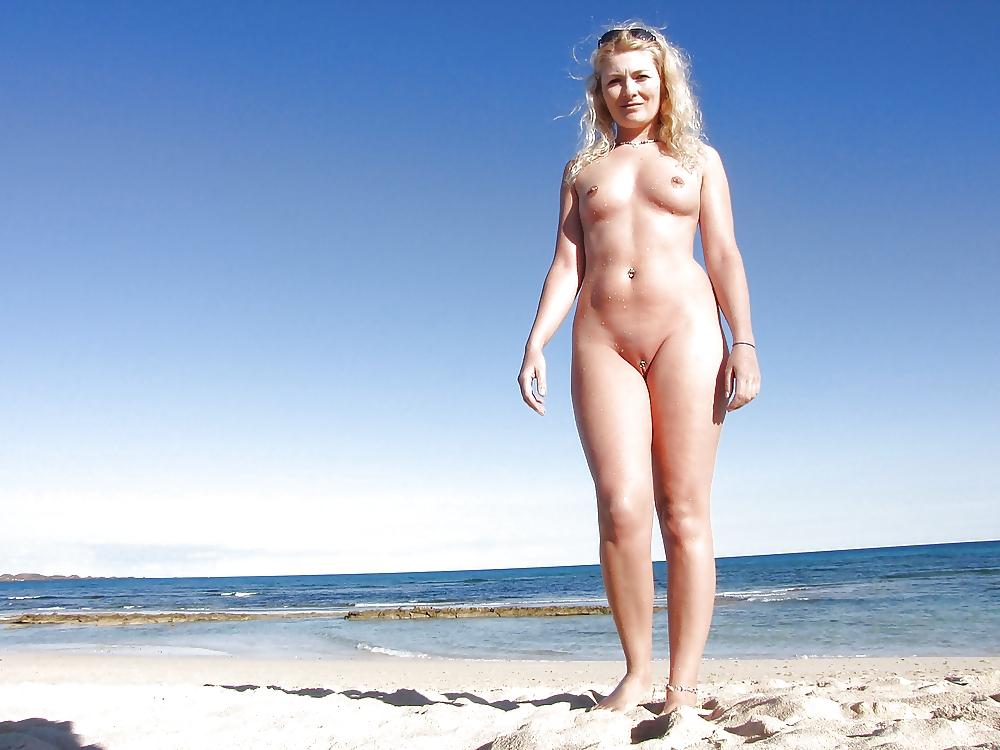 Blonde girl strips public