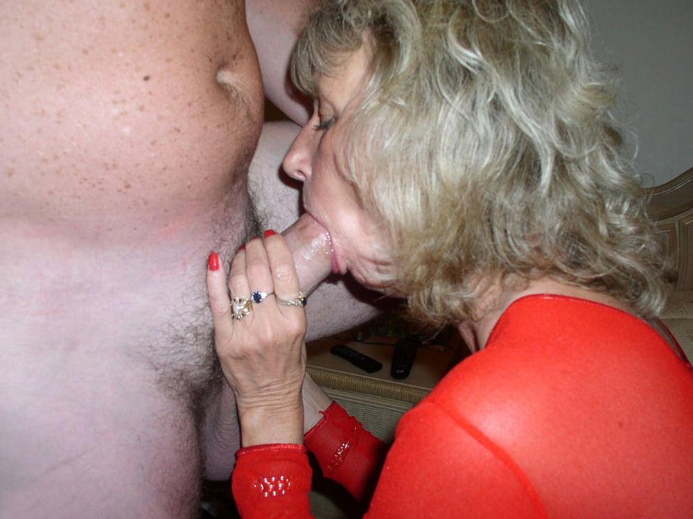 Horny granny loves sucking cock
