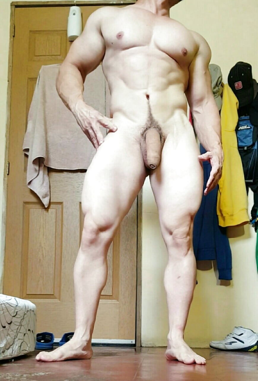 Nude fit guy with a hard cock
