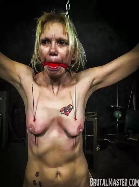 Tattooed amateur tit whipping and brutal breast torture of busty BBW slave girl in fetish session